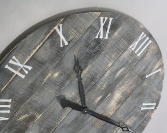 """Farmhouse Clock. Large 36"""" Round Clock. Gray Wood Wall Clock. Personalize. Pine lumber made to look like Pallet Wood."""