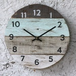 Beach house clock handmade round clock reclaimed wood wall clock Pale sea foam green Pallet Wood Coastal Decor Modern kitchen clock