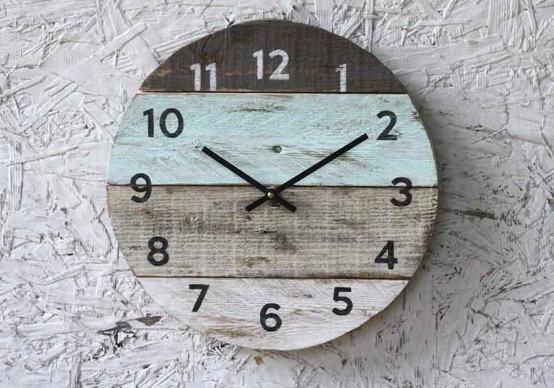 Beach house clock handmade round clock reclaimed wood wall image 0