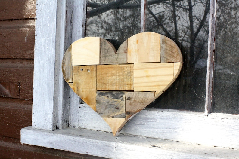 Reclaimed Wood Heart Wall Hanging Gallery Wall Art Heart Art Personalized Gift Anniversary Wedding Nursery Kids Room