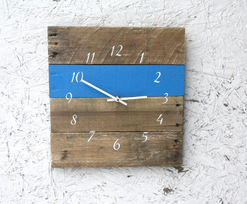 square blue clock bright colored wall decor blue and white image 0