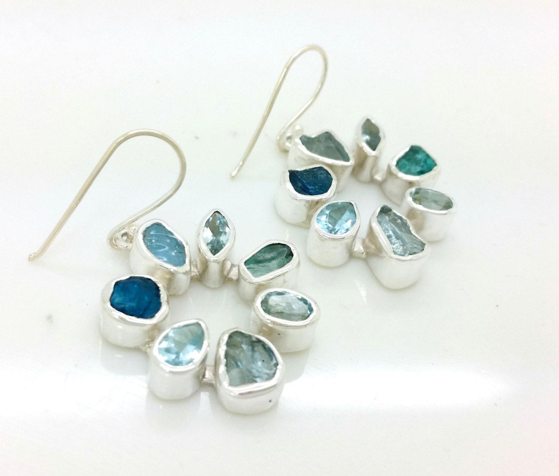 Aquamarine Gemstone Earrings: Rough Aquamarine Apatite And Blue Topaz Silver Gemstone
