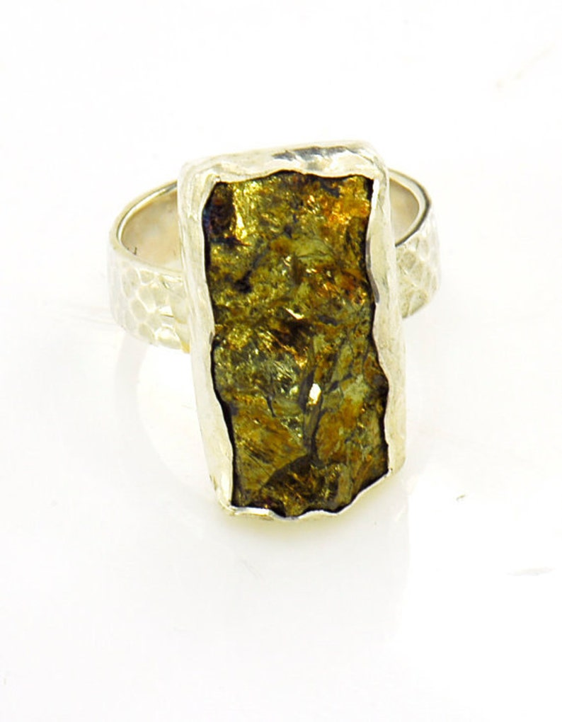 Gemstone Ring Golden Pyrite and Hand Hammered Sterling SIlver Ring