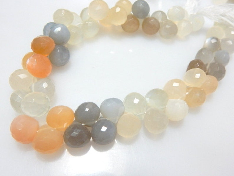 size 9MM 100/% Natural  8/'/' Strands  AAA High  quality AAA Natural Multi Moonstone Briolette faceted onion drops Gemstone Loose Beads