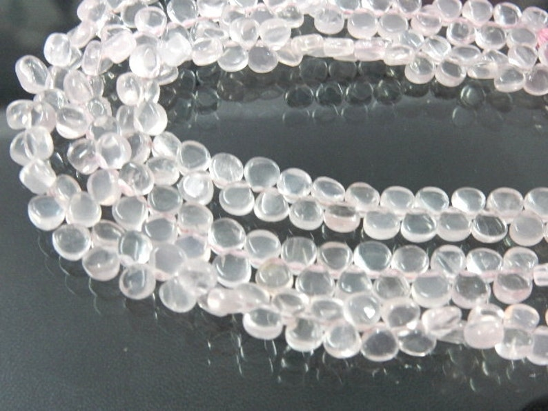 Rose-Quartz,Rose-Quartz Beads,Rose-Quartz Briolette,Heart Shape,AAA Quality 5 Strands Size 6MM Approx Natural African Wholesale Price