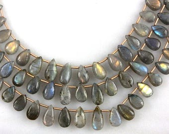 3 Strands AA Labradorite Beads Smooth Briolette Pear Drops Size 10x13-10x17MM Strong Fire Labradorite Beads