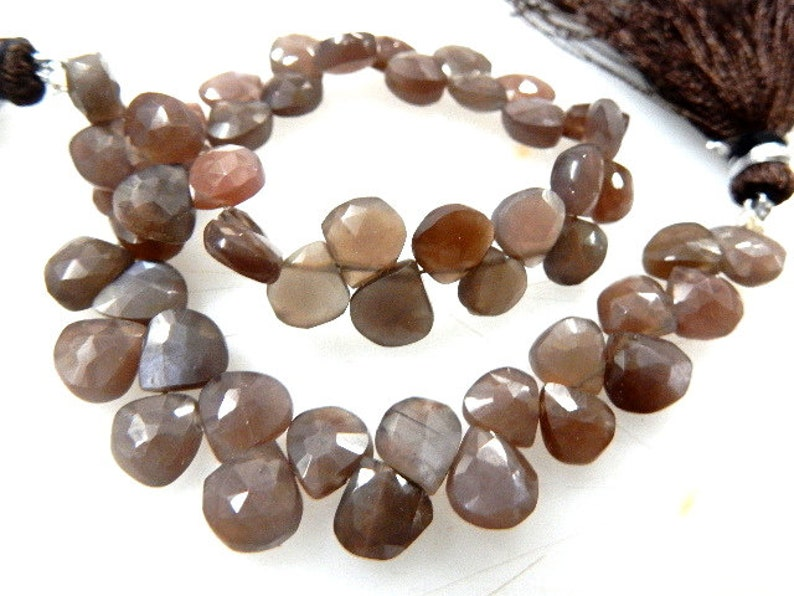8/'/'-AAA-Chocolate Moonstone,Moonstone Beads,Moonstone Heart-Shape,Moonstone Briolette,Moonstone Gemstone,Heart-Shape,8x8MM 51Pc,Wholesale