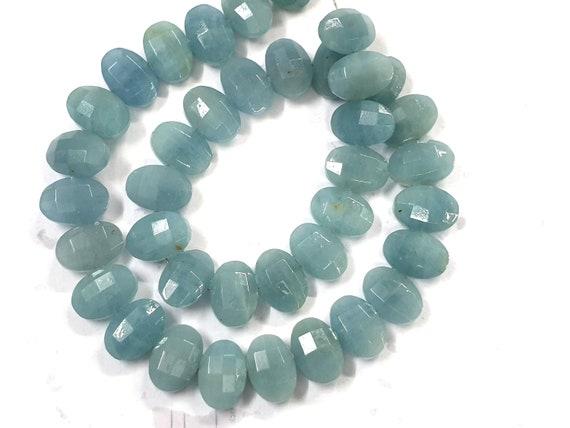 Natural Santa Maria Aquamarine Faceted Oval Beads Bead Size: 4x6-8x11mm Aquamarine Oval Shape Beads Aquamarine AAA Grade Gemstone Bead