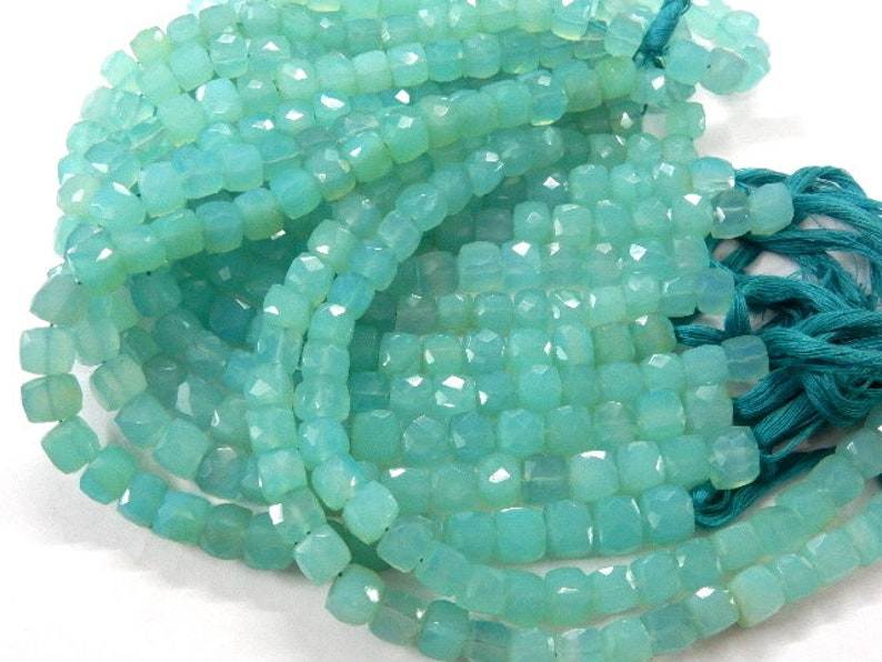 AAA Natural Aqua Blue Chalcedony Faceted Cube Box Gemstone Loose Beads,,7-8MM Beads 8/'/' Gemstone Beads For Jewelry 7-8mm Wholesale