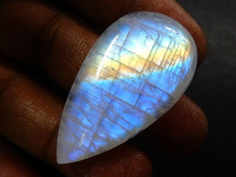Pear Rainbow Moonstone Cabochon loose Gemstone Blue Fire