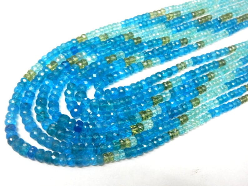 Apatite-Beads Super Top Quality Multi-Color Apatite Faceted Rondelle Beads Full Necklace 6 Strands 534Ct Size 4-5MM Wholesale Price