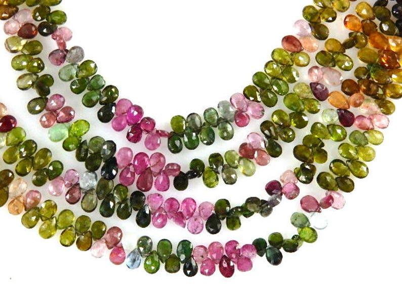 Tourmaline Tourmaline,Tourmaline Beads,Tourmaline Briolette,Tear-Drops,Gemstone,4 StrandsSize 4x6MM