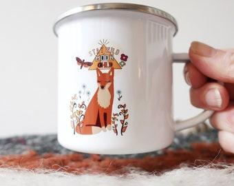 Enamel fox mug, stay wild moonchild, camping mug,