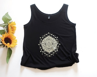 Mandala screen printed, black tank top, yoga