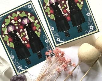 Gemini card, strawberry moon, birthday card,