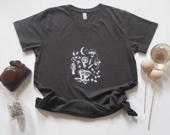 Ash black, mushroom print, foragers t-shirt