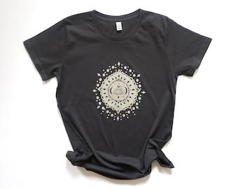 Ash black, mandala, organic, t-shirt, yoga top