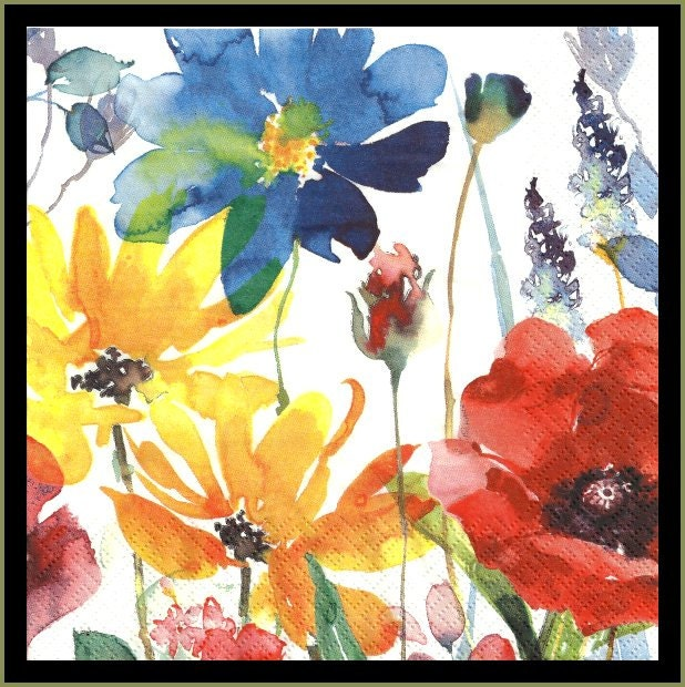 Watercolor Flowers Paper Napkins Use For Decoupage Tissue
