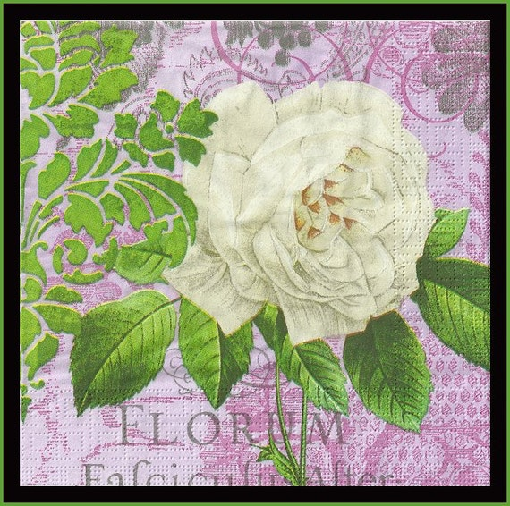 4 Floral Scrapbooking Paper Napkins Shabby Chic Cottage