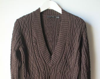Vintage John Peirre Brown Deep V Neck Cotton Pullover Cable Knit Chunky Sweater Size L