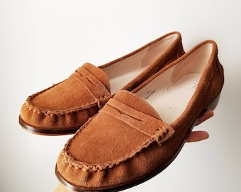 SIZE 9.5 90s Vintage Womens Brown Genuine Leather Loafers Leather Soles