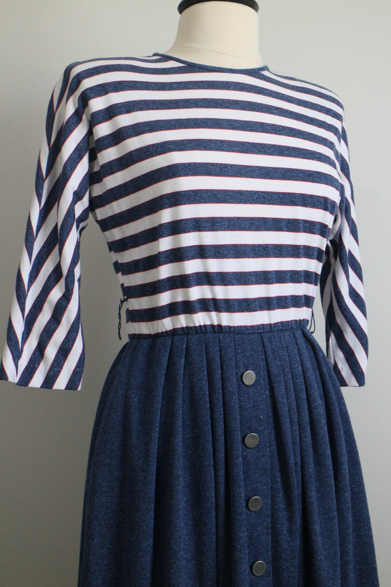 Vintage 80er Jahre gestreift rot blau weiß Sailor Kleid ...