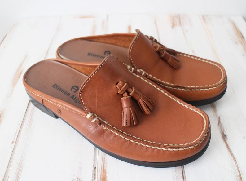fb7ec30fb4461 SIZE 6 M Vintage Etienne Aigner Brown Leather Tassel MULE Loafers