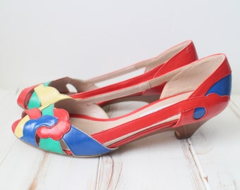 SIZE 6.5 S Vintage Colorblock VANELi Made in Italy Kitten Shoes
