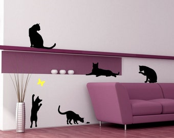 Cat Pack of 5 with Butterfly Vinyl Wall Decal Art