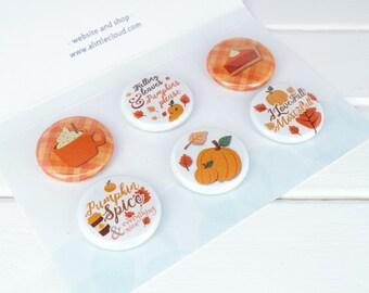 Pumpkin Spice Decor Magnet Gift Set, Fall decor Fridge Magnets, Autumn home accessories, pumpkin decor for the home office