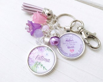 Personalised Keychain Mother's Day, Mom Quote keychain, Floral Themed Gifts, Custom Mothers day Gift, Keepsake Keychain for mom