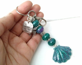 Mermaid Shell Sparkly Keychain, Dreaming of the Sea