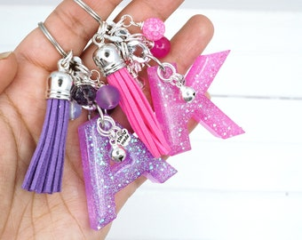 Glitter Initial Keychain for teenage girls, Resin Backpack Charm for girls, Sparkly Letter keychains for teenage girls, First Car Gifts