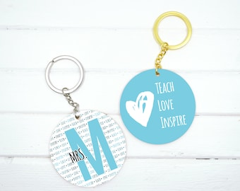 Custom Teacher Keychain, Teach Love Inspire Teacher Gifts, Personalized Teacher Keychain Appreciation Gift, Daycare worker or educator gifts