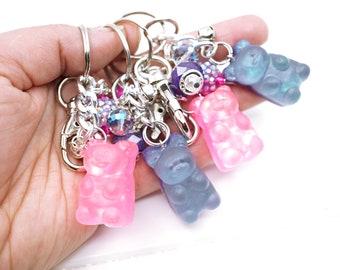 Gummy Bear Keychain, Cute bear backpack charm, Cute sparkly gummy bear accessory for girls, Kawaii Bear charm for purse or backpacks