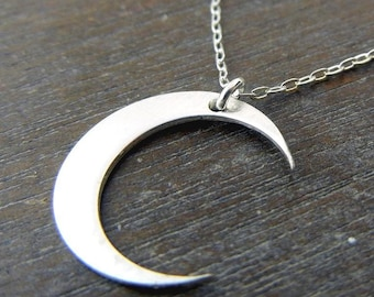 Silver Moon Necklace | Silver Moon Charm Necklace | Silver Crescent Necklace Crescent Moon Necklace | Brushed Sterling Silver Moon Necklace