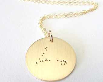 Pisces Necklace, Gold Pisces Necklace, Constellation Necklace, 14KGF Gold Constellation Necklace, Choose Constellation, Zodiac Sign Charm