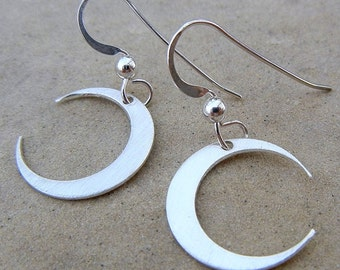 Moon Earrings | Crescent Moon Charms | Sterling Silver Brushed | E. Ria Designs Jewelry