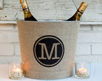 Circle Monogram Rustic Wine Bucket, Natural Jute and Galvanized Metal