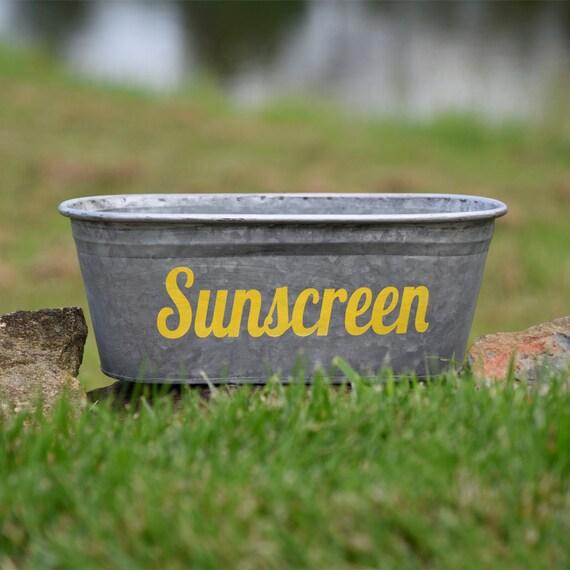 Sunscreen Decorative Metal Storage Bin Hand Painted In Yellow