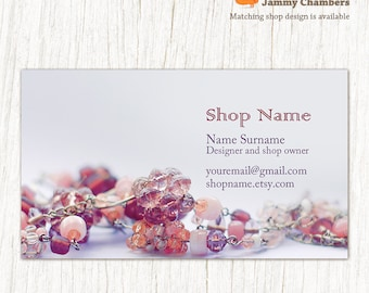Business card template business cards jewelry business etsy business card template printable diy thank you card beaded jewelry contact card custom business card jewelry holder card accmission Image collections