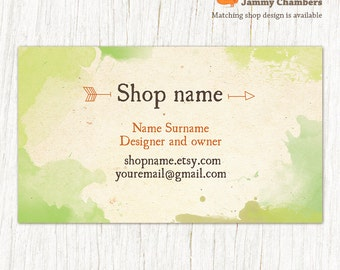 Business cards etsy business card template printable business cards custom business card natural rustic eco green watercolor graphics reheart Image collections