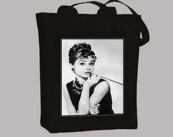 0d7907175c Audrey Hepburn, Breakfast at Tiffany's Portrait on Natural or Black Canvas  Tote - Selection of sizes available