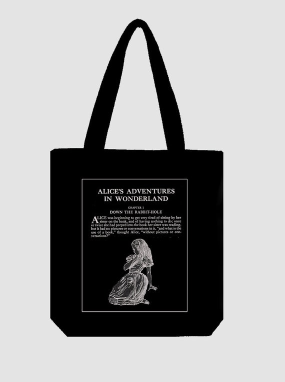 Bag05 One CreamWhite Cotton Tote with an original illustration taken from the first edition of CS Lewis\u2019s Alice in Wonderland