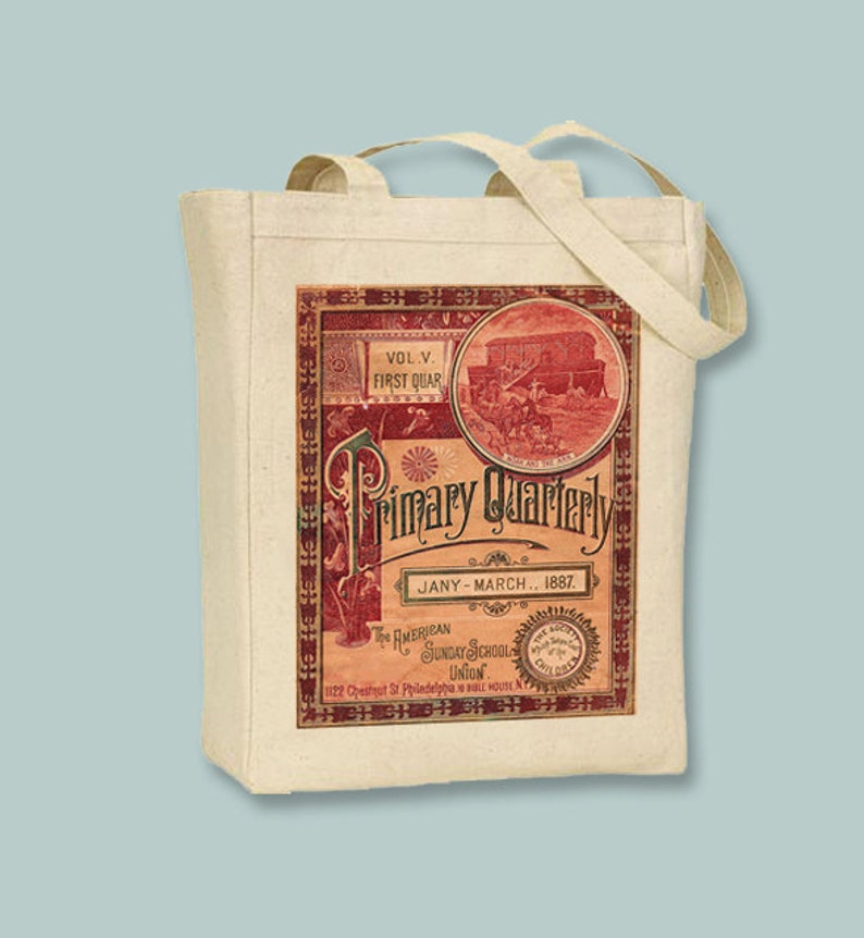 Gorgeous vintage Sunday School Primer Image transferred onto Natural or Black Canvas Tote Selection of  sizes available