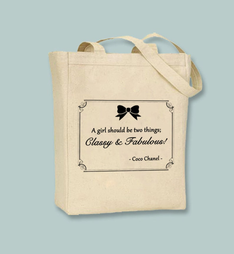 915d654e2 Coco Chanel Quote Classy and Fabulous on Natural or Black   Etsy