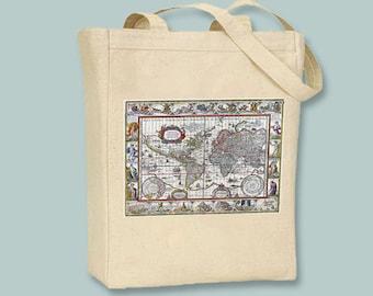 World map tote bag etsy vintage world map 1606 nova totius terrarum orbis natural or black tote gumiabroncs Images