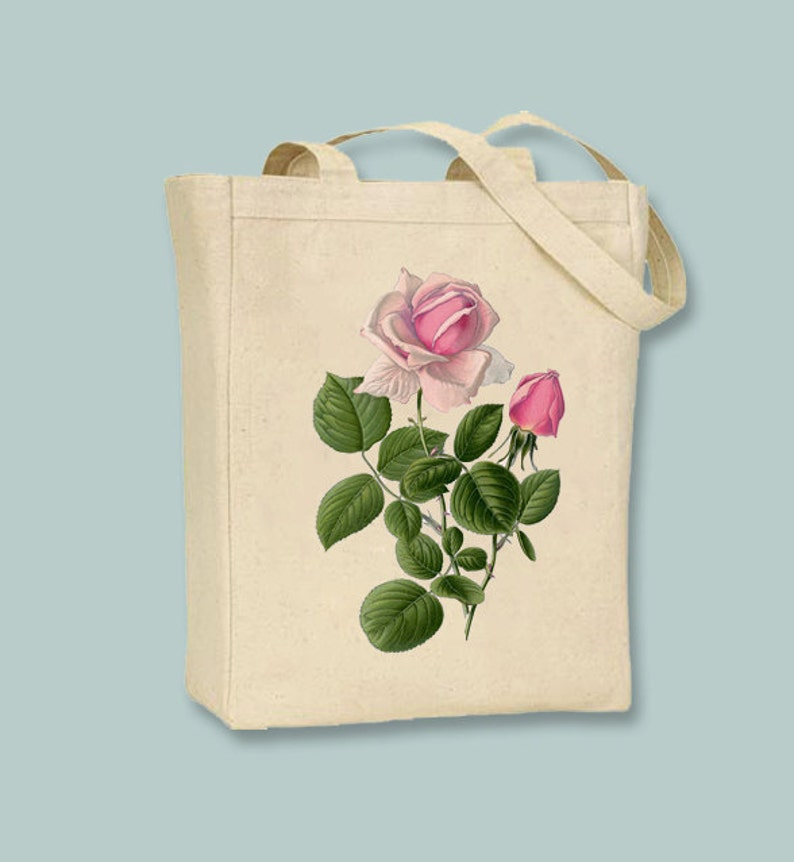 Selection of  sizes available Vintage Hypbrid Pink Tea Rose Illustration Canvas Tote