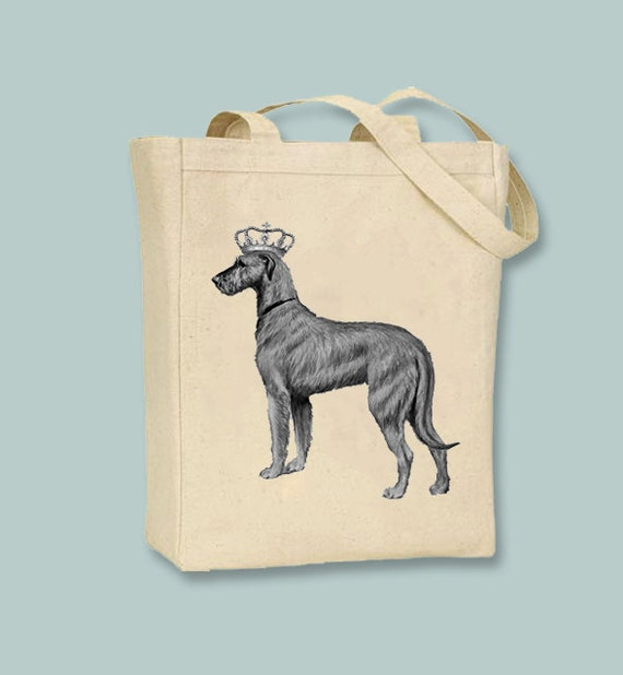 Blue or Natural Irish Wolfhound Artwork on Canvas and Cotton Bags Black