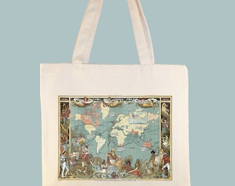 World map tote bag etsy imperial federation map of the world showing extent of british empire in 1886 on natural or gumiabroncs Images